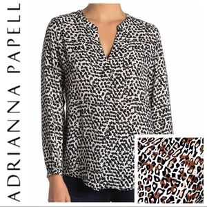 NEW ADRIANNA PAPELL Animal Print Long Sleev BLOUSE